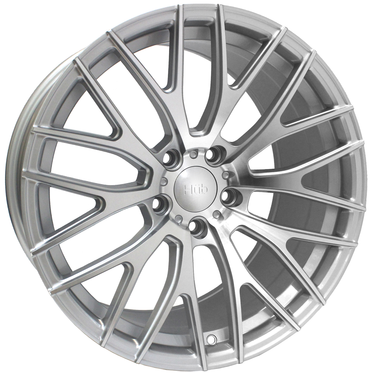 "NEW 19"" HUB V20 ALLOY WHEELS IN SILVER POL WITH WIDER 9.5"" REARS"